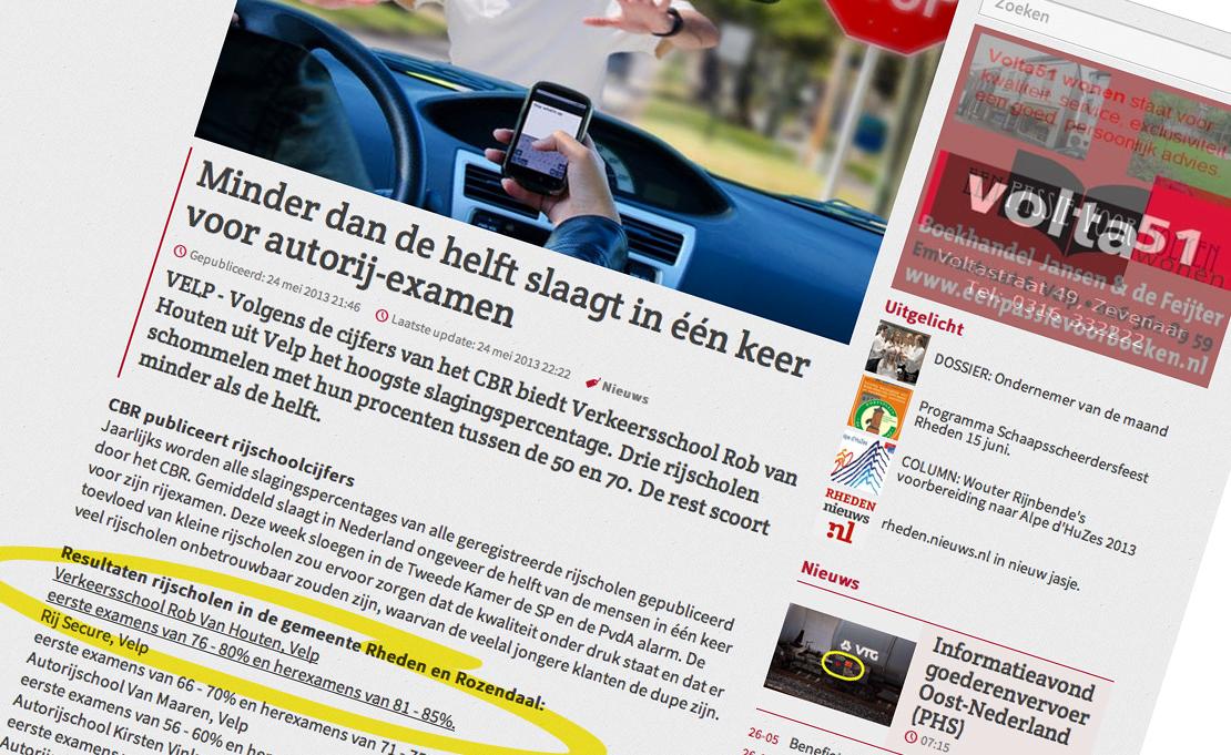 Hoogste slagingspercentage in de gemeenten Rheden en Rozendaal bij Verkeersschool Rob van Houten uit Velp.